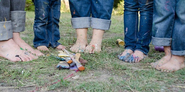 Kids' and Parents' feet after painting
