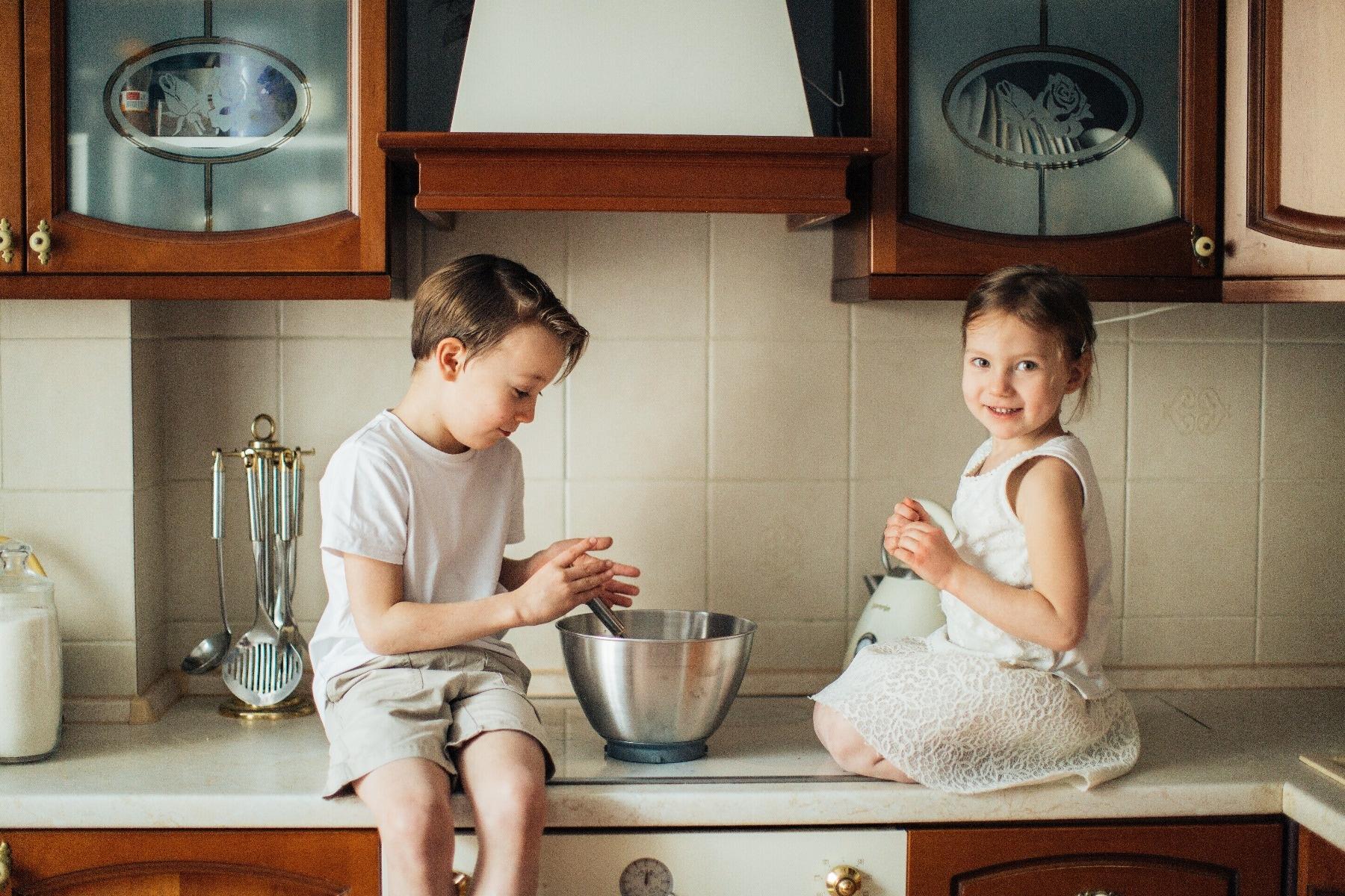 kids baking on kitchen counter top