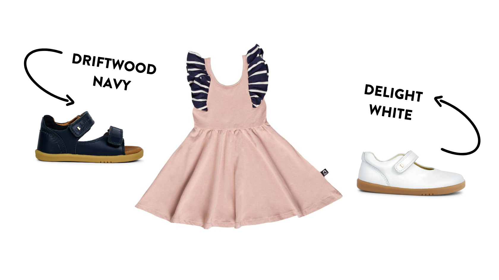 rags kids swing dress pink navy striped bobux driftwood navy sandal white delight shoe outfit